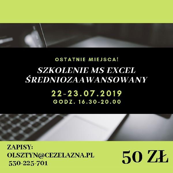 Szkolenie Dofinansowane Ms Excel średniozaawansowany 22-23.07.2019+ Certyfikat Olsztyn 50zł